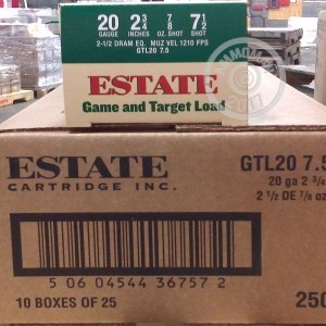 "Picture of 20 GAUGE ESTATE GAME AND TARGET LOAD 2-3/4""  #7.5 SHOT (25 ROUNDS)"
