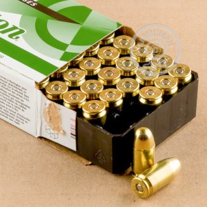 A photograph of 50 rounds of 230 grain .45 GAP ammo with a FMJ bullet for sale.
