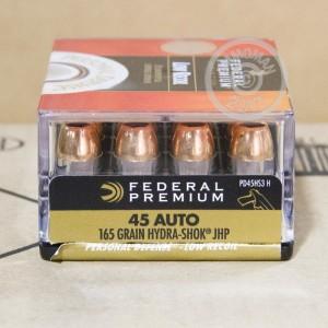 Picture of 45 ACP FEDERAL PREMIUM HYDRA SHOK 165 GRAIN JHP (20 ROUNDS)