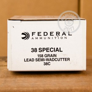 A photograph detailing the 38 Special ammo with Lead Semi-Wadcutter (LSWC) bullets made by Federal.
