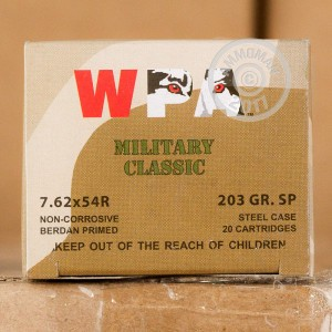Image of 7.62 x 54R ammo by Wolf that's ideal for big game hunting, hunting wild pigs, training at the range, whitetail hunting.