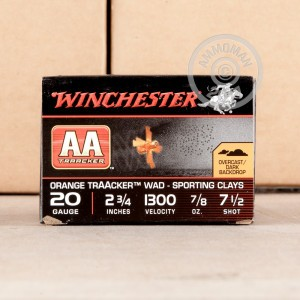 "Picture of 20 GAUGE WINCHESTER AA ORANGE TRAACKER SPORTING CLAYS 2 3/4"" 7/8 OZ. #7.5 SHOT (25 ROUNDS)"