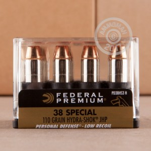 Picture of 38 SPECIAL FEDERAL HYDRA-SHOK LOW RECOIL 110 GRAIN JHP (200 ROUNDS)