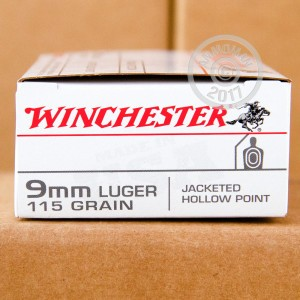 Picture of 9MM LUGER WINCHESTER USA 115 GRAIN JHP (50 ROUNDS)