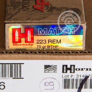 Picture of 223 REMINGTON HORNADY MATCH 75 GRAIN HPBT (20 ROUNDS)