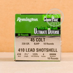 Picture of 410 BORE REMINGTON ULTIMATE DEFENSE COMBO PACK 45 COLT (20 ROUNDS)