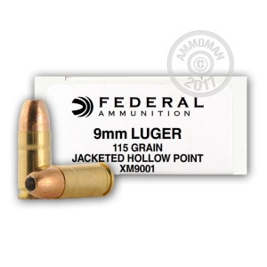 Picture of 9MM FEDERAL 115 GRAIN JACKETED HOLLOW POINT (50 ROUNDS)