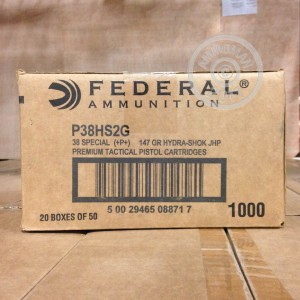 Picture of 38 SPECIAL +P+ FEDERAL LE 147 GRAIN HYDRA-SHOK JHP (1000 ROUNDS)