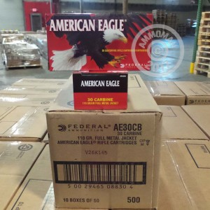 Picture of 30 CARBINE FEDERAL AMERICAN EAGLE 110 GRAIN FMJ (500 ROUNDS)