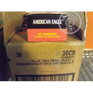 Picture of 30 CARBINE FEDERAL AMERICAN EAGLE 110 GRAIN FMJ (50 ROUNDS)