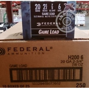 "Picture of Federal 20 GA 2-3/4"" #6 shot - 7/8 oz Game Load (250 Rounds)"
