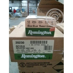 "Picture of 12 GAUGE 2 3/4"" REMINGTON GUN CLUB #8 LEAD SHOT 1 1/8 OZ (250 ROUNDS)"