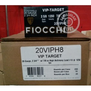 """Picture of 20 GAUGE FIOCCHI 2-3/4"""" #8 VIP TARGET LOAD (25 ROUNDS)"""