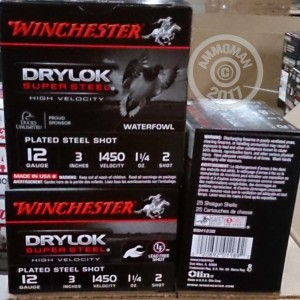 """Picture of 12 GAUGE WINCHESTER DRYLOK SUPER STEEL 3"""" 1-1/4 OZ. #2 PLATED STEEL SHOT (25 ROUNDS)"""