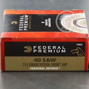 Picture of 40 S&W FEDERAL HYDRA-SHOK 155 GRAIN JHP (20 ROUNDS)