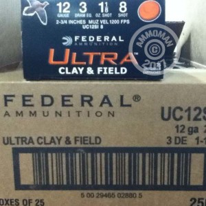 """Picture of 12 GAUGE FEDERAL ULTRA CLAY & FIELD 2-3/4"""" #8 SHOT (25 ROUNDS)"""