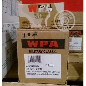 Picture of 380 AUTO WOLF MILITARY CLASSIC 94 GRAIN FULL METAL JACKET (1000 ROUNDS)