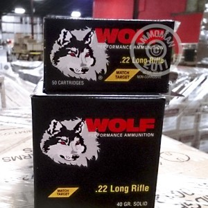 Picture of 22 LR WOLF MATCH TARGET 40 GRAIN LRN (50 ROUNDS)