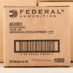 Image of 1000 Rounds of 40 S&W 180 Grain Federal American Eagle AE40R1 FMJ Ammo at AmmoMan.com