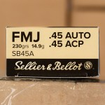 Image of 1000 Rounds of Sellier & Bellot SB45A 230 Grain Full Metal Jacket 45 ACP Ammo with Free Shipping at AmmoMan.com