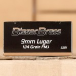 Image of 9mm Ammo - 1000 Rounds of 124 Grain FMJ Blazer Brass 5200 with Free Shipping at AmmoMan.com