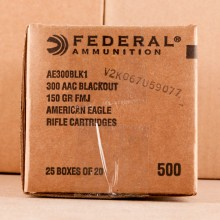 300 AAC BLACKOUT FEDERAL AMERICAN EAGLE 150 GRAIN FMJ (500 ROUNDS)
