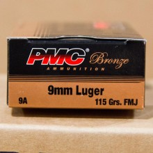 9MM LUGER PMC BRONZE 115 GRAIN FMJ (50 ROUNDS)
