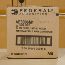 .30-06 FEDERAL AMERICAN EAGLE 150 GRAIN FMJ (200 ROUNDS)