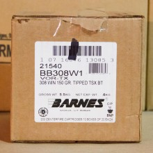 308 BARNES TRIPLE-SHOCK X 150 GRAIN POLYMER TIP (20 ROUNDS)