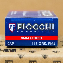 9MM FIOCCHI AMMO 115 GRAIN FMJ (1000 ROUNDS)