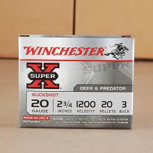 """20 GAUGE WINCHESTER SUPER-X 2-3/4"""" #3 BUCK (5 ROUNDS)"""
