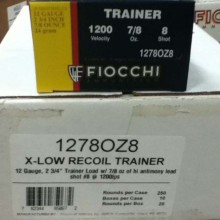 "12 GAUGE FIOCCHI LOW RECOIL 2-3/4"" #8 SHOT (25 ROUNDS)"