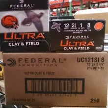 """12 GAUGE FEDERAL ULTRA CLAY & FIELD 2-3/4"""" #8 SHOT (25 ROUNDS)"""