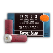 "12 GAUGE FEDERAL TOP GUN TARGET LOAD 2-3/4"" 7/8 OZ. #8 LEAD SHOT (25 ROUNDS)"