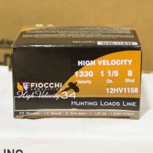 """12 GAUGE FIOCCHI HIGH VELOCITY HUNTING 2-3/4"""" GRAIN #8 SHOT (25 ROUNDS)"""