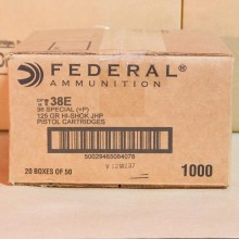 .38 SPECIAL +P FEDERAL 125 GRAIN JHP (1000 ROUNDS)