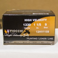 "12 GAUGE FIOCCHI HIGH VELOCITY HUNTING 2-3/4"" GRAIN #9 SHOT (25 SHELLS)"