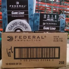 "12 GAUGE FEDERAL 2-3/4"" #8 SHOT (250 ROUNDS)"
