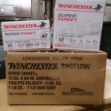 "12 GAUGE WINCHESTER SUPER TARGET 2 3/4"" 1 1/8 OZ. #7.5 SHOT (250 ROUNDS)"