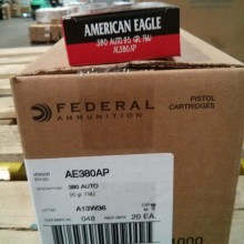 380 ACP FEDERAL AMERICAN EAGLE 95 GRAIN FMJ (50 ROUNDS)
