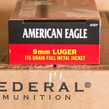 9MM LUGER FEDERAL AMERICAN EAGLE 115 GRAIN FMJ (50 ROUNDS)