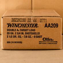 "20 GAUGE WINCHESTER AA TARGET 2 3/4"" 7/8 OZ. #9 SHOT (250 ROUNDS)"