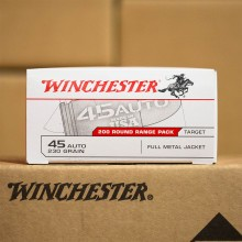 45 ACP WINCHESTER RANGE PACK 230 GRAIN FMJ (200 ROUNDS)