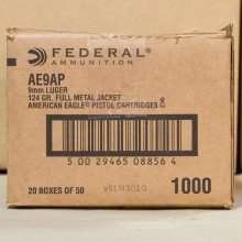 9MM LUGER FEDERAL AMERICAN EAGLE 124 GRAIN FMJ (1000 ROUNDS)