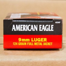 9MM LUGER FEDERAL AMERICAN EAGLE 124 GRAIN FMJ (50 ROUNDS)