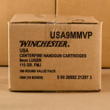 9MM LUGER WINCHESTER 115 GRAIN FMJ (1000 ROUNDS)