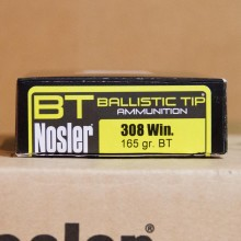 308 WIN NOSLER BALLISTIC TIP HUNTING  165 GRAIN BT (20 ROUNDS)