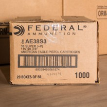 38 SUPER FEDERAL AMERICAN EAGLE 115 GRAIN JHP (50 ROUNDS)