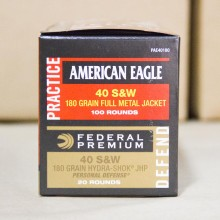 .40 S&W FEDERAL AMERICAN EAGLE COMBO 180 GRAIN FMJ/JHP (120 ROUNDS)