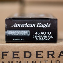 45 ACP FEDERAL AMERICAN EAGLE SUPPRESSOR 230 GRAIN FMJ (50 ROUNDS)